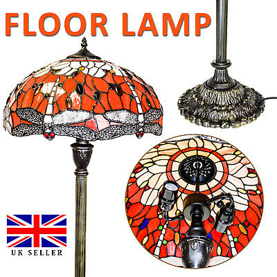 Dragonfly TIFFANY Style Lampshade Antique Base Multi Colour Floor Lamp Zinc Base