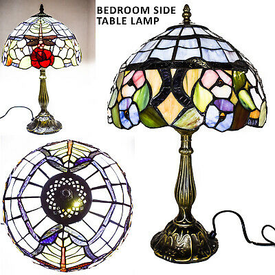 """TIFFANY Red Rose Style Antique Table Lamp Desk Bedside Home Decor Lamp 12"""" inch"""