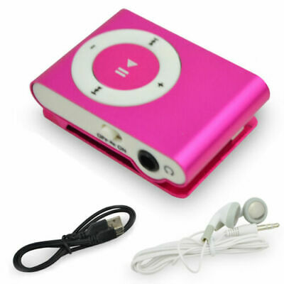 MP3 Player USB Clip Support 16GB Micro TF Card Earphone Music Media Player Pink