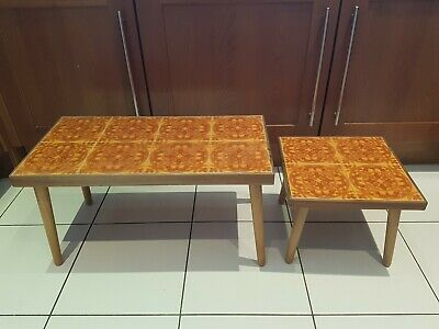 Vintage Small pair of Coffee Table or Arts & Crafts With Tile Inlay Danish influ