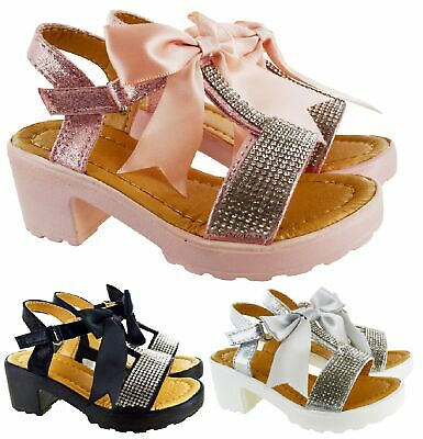 Kids Girls Childrens Summer Low Heel Bow Diamante Party Wedding Shoes Sandals Sz