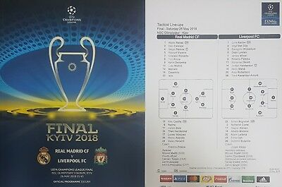 2018 REAL MADRID v LIVERPOOL CHAMPIONS LEAGUE FINAL PROGRAMME + TEAMSHEET