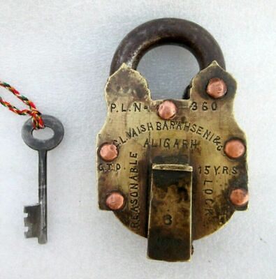 Antique Brass 6 Lever 3 Step Tricky Padlock Indian Famous Aligarh Made Lock