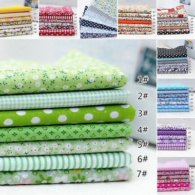 "7Pcs/Set Assorted Pre Cut Charm 10""Squares Quilt Cotton Floral Fabric DIY Craft"