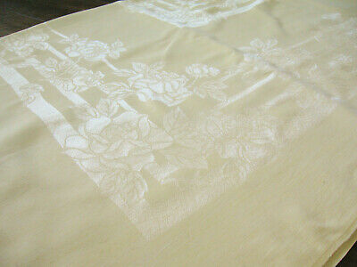"Vtg Yellow Jacquard Damask Tablecloth, Rose Motif w/ Matching Napkins, 72""x53"""