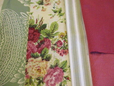 Vintage French Fabric Project Bundle, Ticking Florals Pinks Greens. Cushions