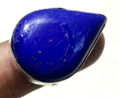 Natural Blue Lapis Handmade Ring 8.5 US No With Adjustable Silver Overlay