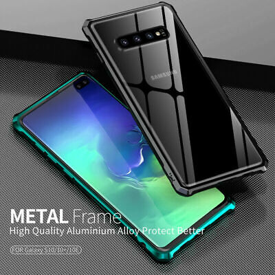 Metal Aluminum Bumper Clear Tempered Glass Case For Samsung Galaxy S10 Plus S10E