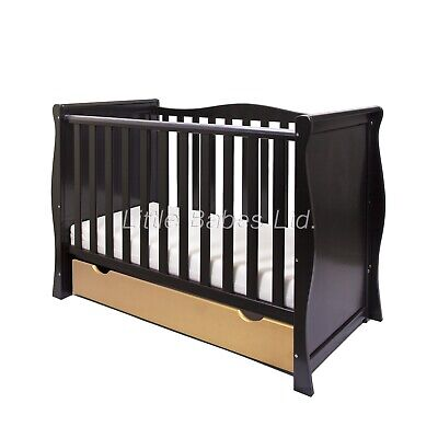 LIMITED EDITION Baby Black & Gold Sleigh Mini Cot Bed + Drawer OPTIONAL MATTRESS
