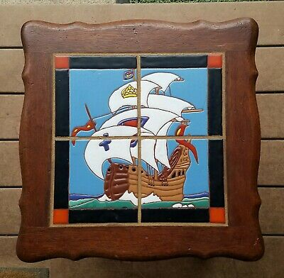 Vintage California Tile Table w/New Tiles Ship Design Arts Crafts Stickley Style