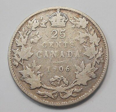 1906 Twenty-Five Cents VG ** Nice BETTER King Edward VII Silver Canada Quarter