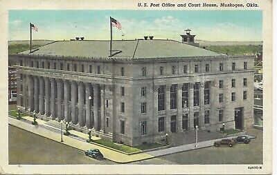 Postcard OK Oklahoma Muskogee US Post Office Court House Posted 1942
