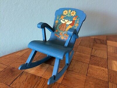 Schaukelstuhl Lundby blau Puppenstube Puppenhaus 1:18 dollhouse rocking chair