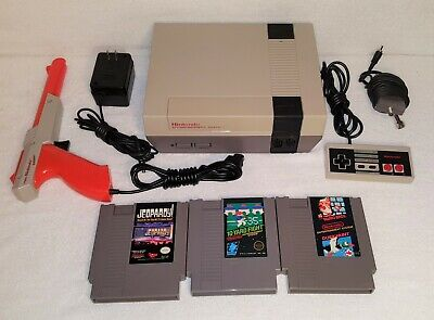 Nintendo Nes Console With Video Games, Controller, Gun Tested And Free Shipping