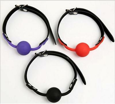 Silicone soft rubber faux leather gag ball bondage fetish restraints gimp
