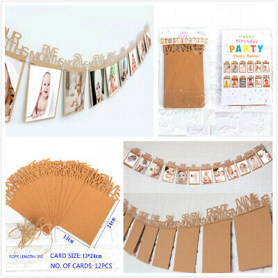 1st Birthday Recording 12 Month Photo Garlands Bunting Banner 12ft Party Banners
