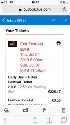 2 x EXIT Festival Serbia 2019 (4th-7th July) camping Included