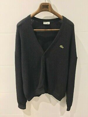CHEMISE LACOSTE Vintage Charcoal Grey Knitted-Wool Cardigan - Mens Size 7 / XXL