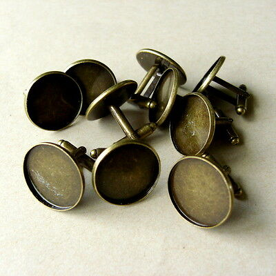 10 x ROUND BRONZE TONE COPPER CABOCHON SETTING CUFF LINKS BLANKS   Fit 16mm dia