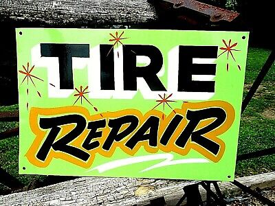 Hand Painted TIRE REPAIR Sign Gas Oil Service Station Truck Car Shop Firestone