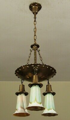 Antique 1905 QUEZAL Arts and Crafts Hammered Brass Light Fixture Pulled Feather