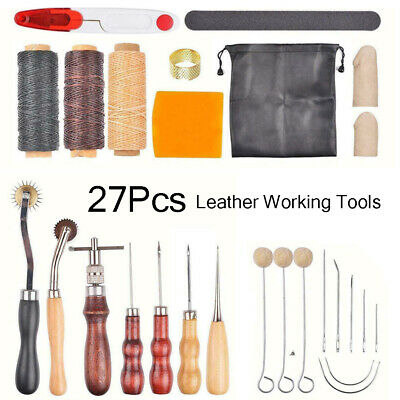 Leather Working Tools Lot Kit Set Sewing Stitching Groover Awl Craft Supplies US