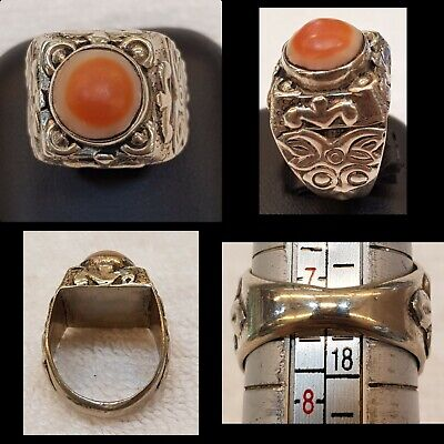 Ancient Old Agate Stone Orange Eyes Powerful Protection Agate Ring Old Silver