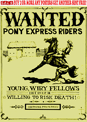 Old West Posters Pony Express Horse Mail Post Office Western Reward
