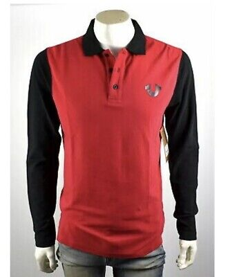 20a57887 True Religion Mens Long Sleeve Polo Shirt Sz 3XL Nwt Red/ Black Cotton Logo