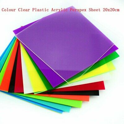 1pcs Colour Clear Plastic Acrylic Perspex Sheet 20x20cm Thickness 2.3mm