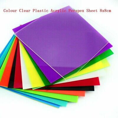 1pcs Colour Clear Plastic Acrylic Perspex Sheet 8x8cm Thickness 2.3mm
