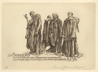 F. Ijserinkhuijsen PF 1958 Burghers of Calais Rodin Etching C3 sign Not Exlibris