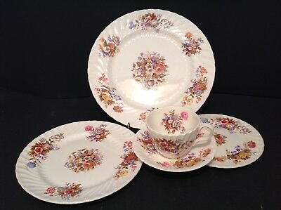5 Piece Place Setting Aynsley Bone China Summertime Pattern Lot #1
