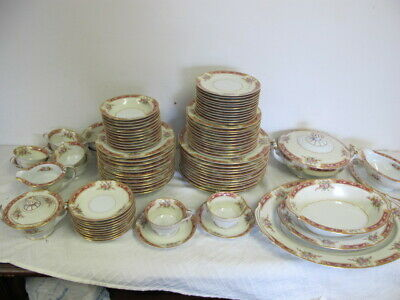Noritake Occupied Japan China Antique Service For 12 (-1 Cup) Serving Pcs 92 Pcs