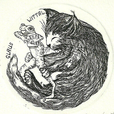 Elly de Koster Katze Frosch Exlibris Wittal Cat Frog Bookplate sign Etching c3