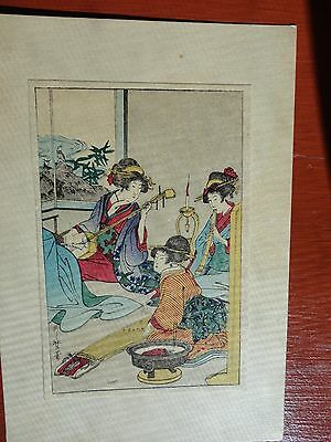 Vintage Japanese Woodblock  Print Pre- War Three Geisha's Playing Music