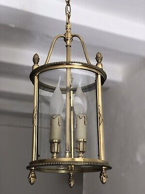 Antique Vintage French Large Brass Circular Lantern 2 Light Pendant