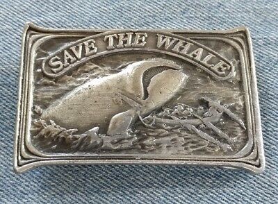 Save The Whale Right Whales Vintage Belt Buckle Bergamot Brass Works 1976 Usa