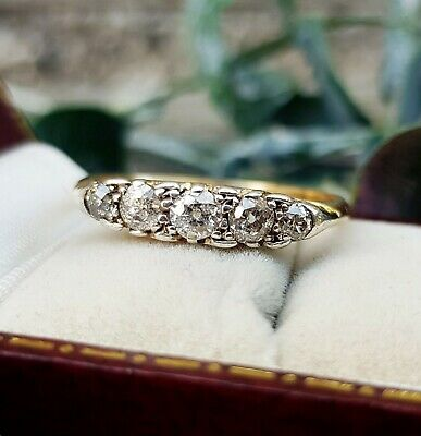 Antique Victorian 18ct Yellow Gold Ornate 5 Stone Diamond Band Ring / Size V
