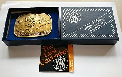 The Last Cartridge Bear Smith & Wesson Brass Vintage Belt Buckle In Original Box