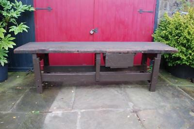 ANTIQUE VICTORIAN INDUSTRIAL PINE MILL WORK CONSOLE TABLE 1880 unrestored rustic