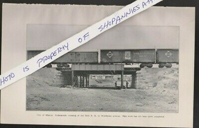 1900 railroad book photo ELMIRA NY Woodlawn Ave Erie RR train cars on new bridge