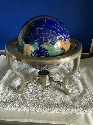 Heavy 15in gemstone world globe atlas Metal stand natural semi precious stones