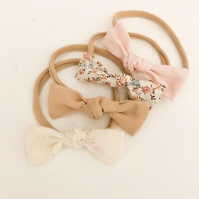 4 X Bow Hair Headband Pack Pink Ivory Latte Floral Nylon Fabric Baby Girl  Aus