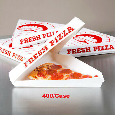 Choice White Clay Coated Clamshell Pizza Slice Box - 400/Case