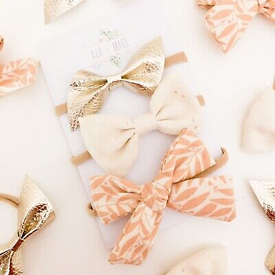 3 X Bow Headband Pack Newborn Baby Girl Toddler Nylon Ivory Peach Gold Leather
