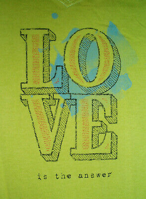 LIFE IS GOOD Women's LOVE is the Answer V-Neck T Shirt Size M EUC