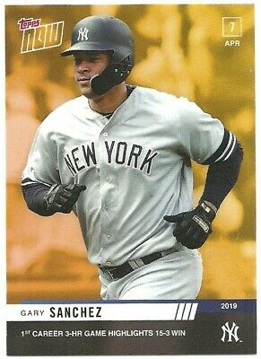 2019 Topps Now New York Yankees Road To Opening Day Gary Sanchez 3 Hr Bonus Card