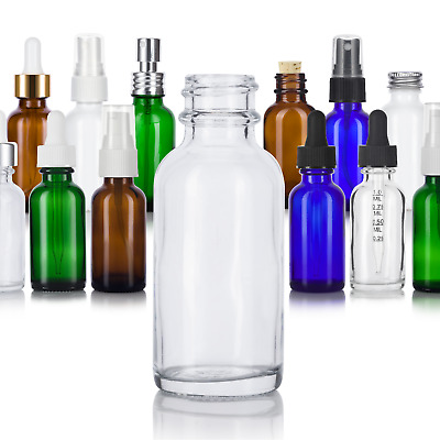 1 oz / 30 ml Glass Boston Round Bottle - Select Color, Closure, & Pack