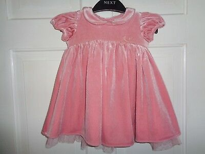 Next Girls Pink Velvet Party Dress Special Occasion - 3-6 Months